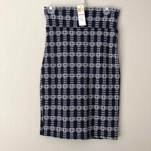Agnes & Dora Navy Patterned Pencil Skirt Size S